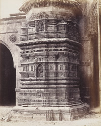 Close view of base of south minaret of the Malik Sarang Mosque or Queen's Mosque, Sarangpur, Ahmadabad 1741